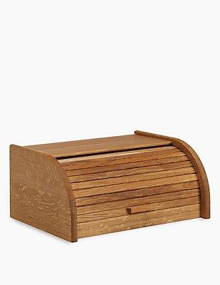 Oak Slatted Bread Bin, , catlanding