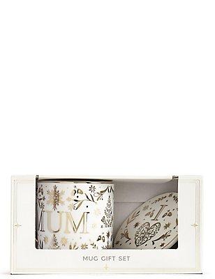 Coffret cadeau avec mug et dessous de verre à texte «Mum», , catlanding