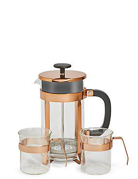 Cafetière et tasses couleur cuivre, , catlanding