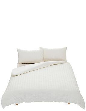 Wide Stripe Seersucker Bedding Set, CREAM, catlanding