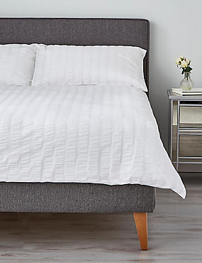 Wide Stripe Seersucker Bedding Set, WHITE, catlanding