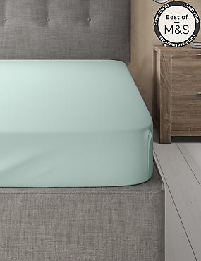 200 Thread Count Comfortably Cool Fitted Sheet, DUCK EGG, catlanding