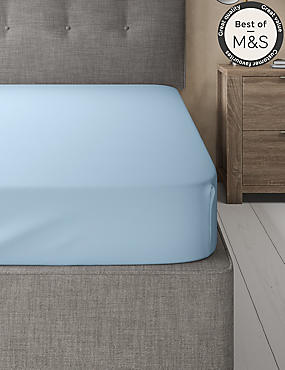 200 Thread Count Comfortably Cool Fitted Sheet, POWDER BLUE, catlanding