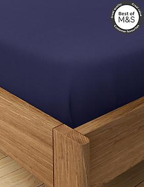Non-Iron Pure Egyptian Cotton Flat Sheet, MIDNIGHT NAVY, catlanding