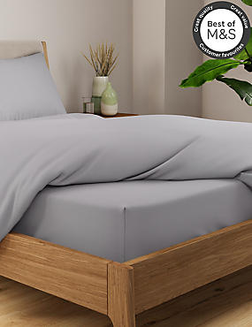 Non-Iron Pure Egyptian Cotton Deep Fitted Sheet, SILVER GREY, catlanding