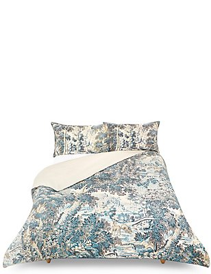 Forest Tapestry Bedding Set, BLUE, catlanding