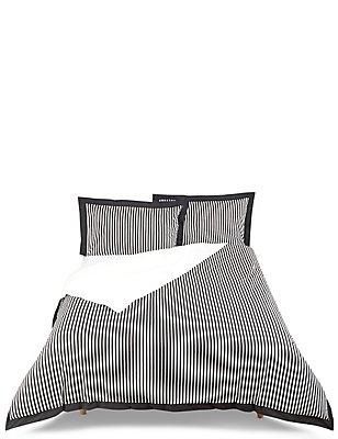 Eva– Parure de lit à rayures monochromes, NOIR ASSORTI, catlanding