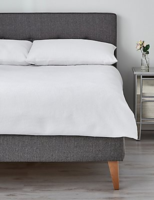 Washed Waffle Bedding Set, WHITE, catlanding