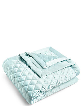 Diamond Quilted Throw, DUCK EGG, catlanding