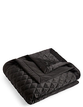 Diamond Quilted Throw, BLACK, catlanding
