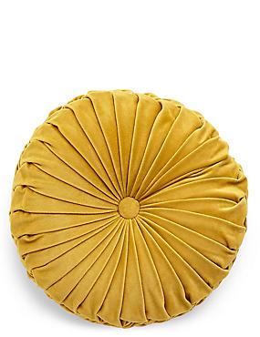 Round Velvet Cushion, OCHRE, catlanding