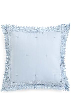 Pure Cotton Crochet Trim Cushion , SOFT BLUE, catlanding