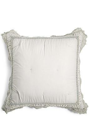 Pure Cotton Crochet Trim Cushion , GREY, catlanding