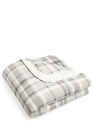 Dawson Check Fleece Throw, , catlanding