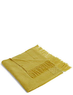 Lace Trim Throw, OCHRE, catlanding