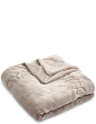 Embroidered Fur Throw, LIGHT GREY, catlanding