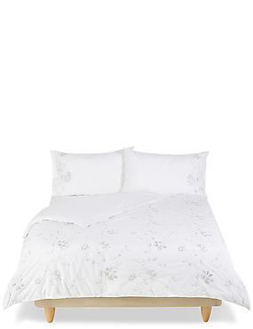 Floral Cord Embroidered Bedding Set, GREY/WHITE, catlanding