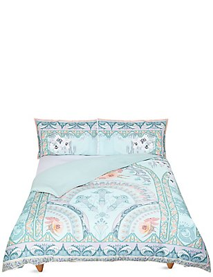 Sophia Deco Print Bedding Set, DUCK EGG, catlanding