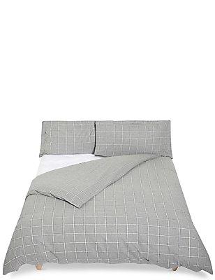 Dawson - Ropa de cama cepillada de cuadros , MEZCLA DE GRISES, catlanding
