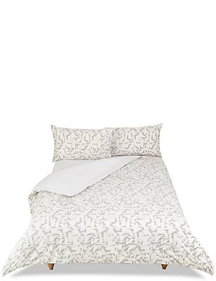 Geometric Print Bed in a Bag Bedding Set, GREY, catlanding