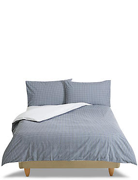 Gingham Bedding Set, NAVY MIX, catlanding