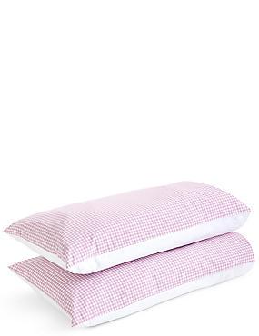 Gingham Pillowcase Set, MAUVE, catlanding