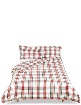Austin Check Brushed Bedding Set, RED MIX, catlanding