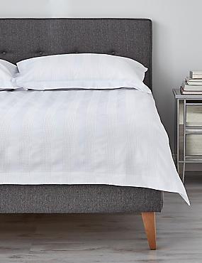 Waffle Striped Bedding Set, WHITE, catlanding