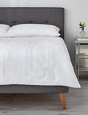 Seersucker Waffle Striped Bedding Set, WHITE, catlanding