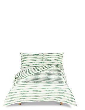 Watercolour Striped Bedding Set, GREEN MIX, catlanding