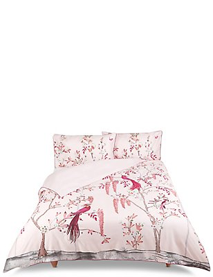 Aurelia Print & Embroidered Bedding Set, PINK MIX, catlanding