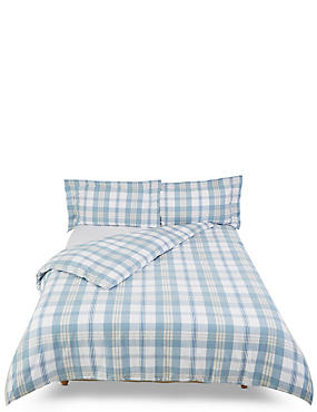 Harrison Check Brushed Bedding Set, BLUE MIX, catlanding