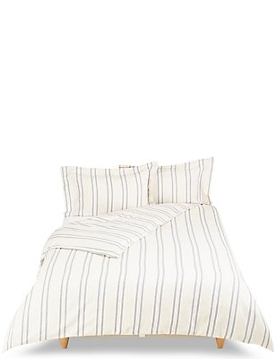 Hampden Stripe Brushed Bedding Set, NATURAL MIX, catlanding