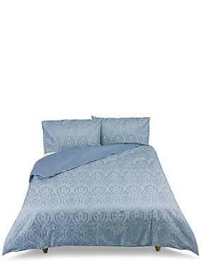 Abbey– Parure de lit damassée à motif jacquard, BLEU ARDOISE, catlanding