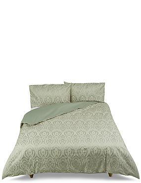 Abbey– Parure de lit damassée à motif jacquard, VERT SAUGE, catlanding