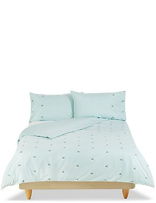 Ditsy Floral Embroidered Bedding Set, DUCK EGG, catlanding