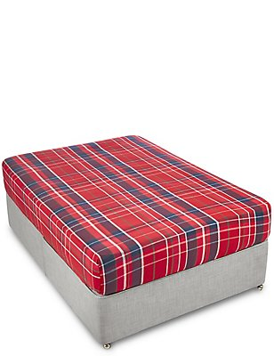 Tartan Check Deeper Fitted Sheet, RED MIX, catlanding