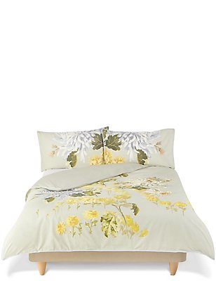Gabrielle Floral Print & Embroidery Bedding Set, GREEN MIX, catlanding