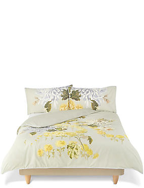 Gabrielle Floral Print & Embroidery Bedding Set, GREEN MIX, catlanding