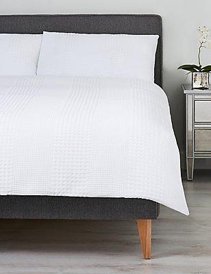 Wide Stripe Waffle Bedding Set, WHITE, catlanding