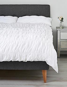 Casual Smocking Bedding Set, WHITE, catlanding