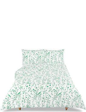 Hummingbird Print Bedding Set, APPLE GREEN, catlanding