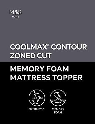 4.5cm Contour Cut Zoned Memory Foam Mattress Topper, WHITE, catlanding