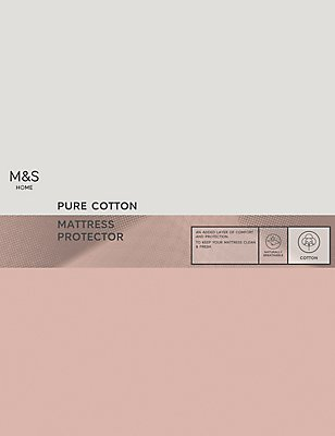 Cotton Mattress Protector, WHITE, catlanding