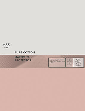 Cotton Mattress Protection, WHITE, catlanding