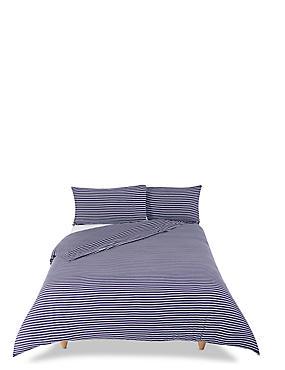 Striped Jersey Bedding Set, BLUE MARL, catlanding