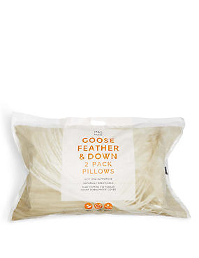 2 Pack Goose Feather & Down Pillows, , catlanding