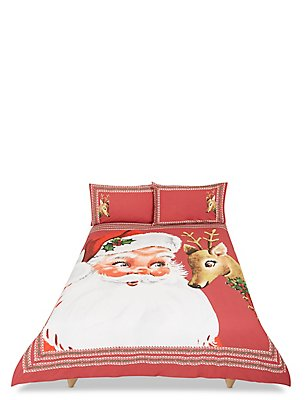 Winterberry Santa Bedset, RED MIX, catlanding