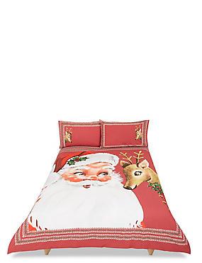Winterberry Santa Bedding Set, RED MIX, catlanding