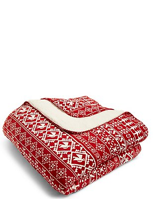 Fairisle Fleece Throw, , catlanding